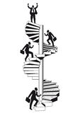 Career ladder. Figure of a man climbing a spiral staircase on his way up the career ladder Royalty Free Stock Image