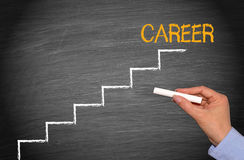 Career ladder. Steps up on career ladder drawn in white chalk on a blackboard with text in orange upper case letters 'career' at the top, dark background Royalty Free Stock Images