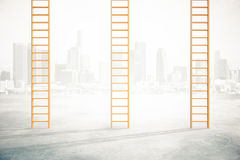 Career ladders on city background Royalty Free Stock Photography