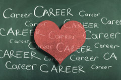 Career Love. Blackboard with Career notes and heart shape Stock Images