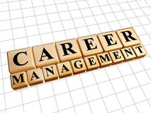 Career management in golden cubes Royalty Free Stock Photography