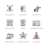 Career management and professional development. Career management, professional development, individual success, corporate business symbol. Thin line art icons Royalty Free Stock Images