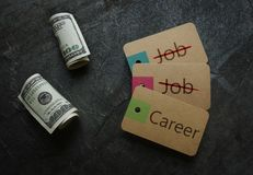 Career and money. Career vs Job paper tags with money Stock Image