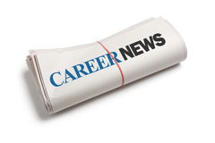 Career News. Newspaper roll with white background Royalty Free Stock Image
