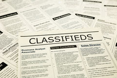 Career news on classifieds ads, search jobs. Newspaper with advertisements and classifieds ads for vacancy, search for jobs stock photography