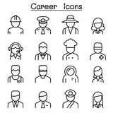 Career, Occupation, Profession icon set in thin line style Stock Photos