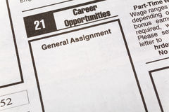 Career Opportunities. Newspaper employment ad, Career Opportunities, Employment concept Royalty Free Stock Image