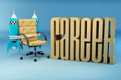 Career opportunities. Office armchair with rocket Royalty Free Stock Image