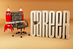 Career opportunities. Office armchair with rockets Royalty Free Stock Photo