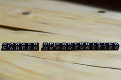 Career opportunities written on wooden blocks.