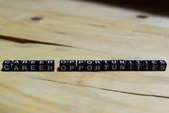 Career opportunities written on wooden blocks. stock photos
