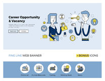 Career opportunity flat line banner Stock Photography