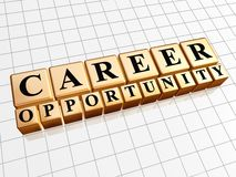 Career opportunity in golden cubes. Career opportunity - text in 3d golden cubes with black letters, business profession growth concept Stock Photography