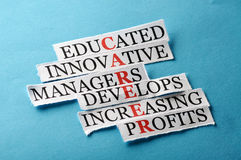 Career paper. Career acronym in business concept, words on cut paper hard light Stock Images
