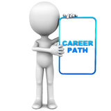 Career path. Little 3d man holding a small banner reading career path, concept of career and job guidance, white background royalty free illustration