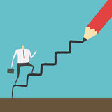 Career path. Businessman climbing up the ladder line draw by red pencil Stock Photography