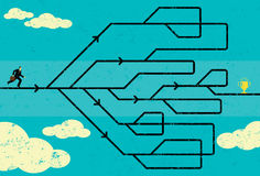 Career Path. Businessman navigating his career path to success. The man and maze are on a separate labeled layer from the background vector illustration