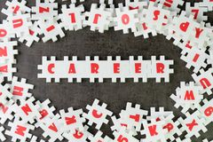 Career path opportunities concept, abundance white puzzle jigsaw. With alphabets combine word CAREER and other letter pieces around on dark black chalkboard Royalty Free Stock Photography