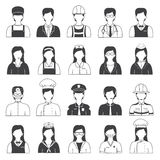 Career People and Occupation Icons Set. Black and white occupation icons like doctor nurse secretary and etc Royalty Free Stock Photo