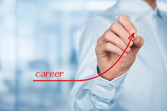 Career. Personal development, personal and career growth. Coach (human resources officer, supervisor) help employee with his growth, blurred office in background Stock Images