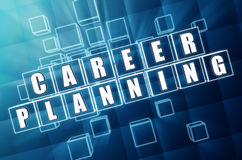 Career planning in blue glass cubes Royalty Free Stock Images