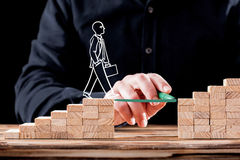 Career Planning Concept. Businessman Getting Help Building Bridg Stock Image