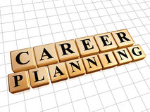 Career planning in golden cubes Stock Images