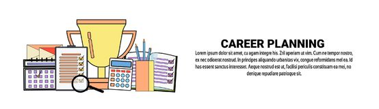 Career Planning Personal Development Concept Horizontal Banner With Copy Space. Vector Illustration Stock Photography