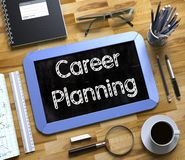 Career Planning on Small Chalkboard. 3d. Small Chalkboard with Career Planning Concept. Career Planning - Blue Small Chalkboard with Hand Drawn Text and Stock Photo