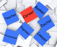 Career Post-It Note Shows Profession Or Line Stock Photos