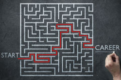 Career progress maze solution Royalty Free Stock Photo