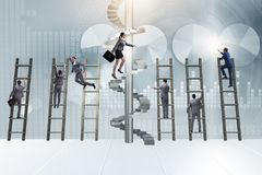 The career progression concept with ladders and staircase. Career progression concept with ladders and staircase Stock Images