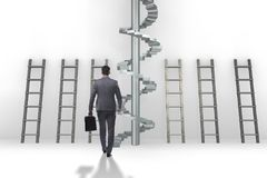 The career progression concept with ladders and staircase. Career progression concept with ladders and staircase Royalty Free Stock Photography