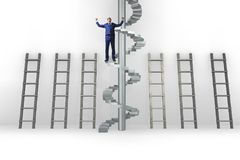 The career progression concept with ladders and staircase. Career progression concept with ladders and staircase Stock Photo