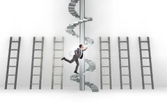 The career progression concept with ladders and staircase. Career progression concept with ladders and staircase Royalty Free Stock Photo