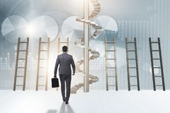 The career progression concept with ladders and staircase. Career progression concept with ladders and staircase Stock Photos