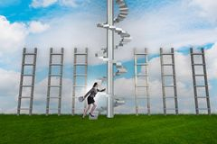 The career progression concept with ladders and staircase. Career progression concept with ladders and staircase Royalty Free Stock Photos