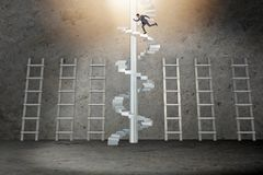 The career progression concept with ladders and staircase. Career progression concept with ladders and staircase Stock Image