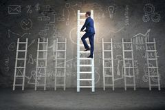 The career progression concept with various ladders. Career progression concept with various ladders Stock Image