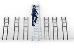The career progression concept with various ladders. Career progression concept with various ladders Stock Photo