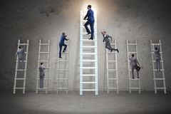 The career progression concept with various ladders. Career progression concept with various ladders Stock Photography