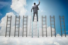 The career progression concept with various ladders. Career progression concept with various ladders Royalty Free Stock Images