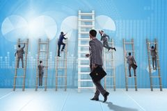 The career progression concept with various ladders. Career progression concept with various ladders Stock Photos