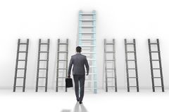 The career progression concept with various ladders. Career progression concept with various ladders Royalty Free Stock Photo