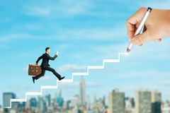 Career and promotion concept. Young businessman with travel suitcase running up drawn ladder on blurry New York city background. Career and promotion concept royalty free stock image