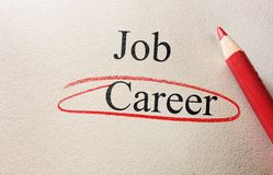Career red circle. Job and Career red circle with pencil on textured paper Stock Photos