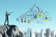 Career and research concept. Businessman on cliff looking at business sketch. Sky and city background. Career and research concept stock illustration