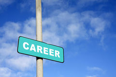 Career sign. Against a blue sky Royalty Free Stock Image