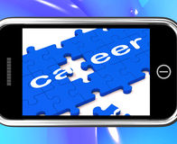 Career On Smartphone Showing Professional Opportunities Stock Images