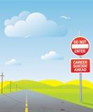 Career suicide. Conceptual road sign Stock Photos